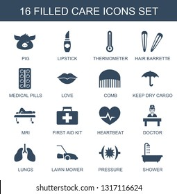 16 care icons. Trendy care icons white background. Included filled icons such as pig, lipstick, thermometer, hair barrette, medical pills, love. care icon for web and mobile.
