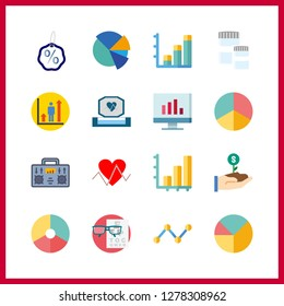 16 chart icon. Vector illustration chart set. cardiogram and bar chart icons for chart works