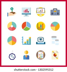 16 chart icon. Vector illustration chart set. statistics and radio icons for chart works