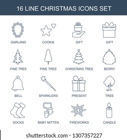 16 christmas icons. Trendy christmas icons white background. Included line icons such as garland, cookie, gift, pine tree, christmas tree, berry. icon for web and mobile.