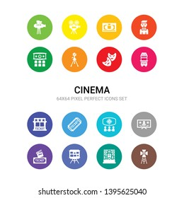 16 cinema vector icons set included spotlight, stage, storyboard, studio, subtitle, theatre, ticket, ticket office, ticket window, tragedy, tripod icons