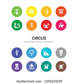 16 circus vector icons set included magic ball, magic hat, merry go round, mime, pop corn, ride, ring of fire, ringmaster, rodeo, seesaw, stilt walker icons