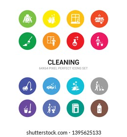 16 cleaning vector icons set included acid, baking soda, bathtub cleaning, bin, broom, bubbles, car wash, carpet cleaning, charwoman, chemical reaction, wiping icons