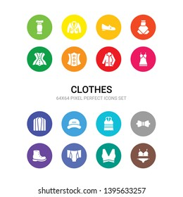 16 clothes vector icons set included bra & knicker, brassiere, briefs, brisk boots, butterfly tie, camisole, cap, cardigan, chemise, coat, corset icons