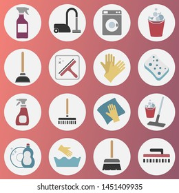 16 colored cleaning icon set. vector illustration