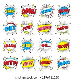 16 Comic lettering set in the speech bubbles comic style flat design. Dynamic pop art illustration isolated on white background. Exclamation concept of comic book style pop art voice phrases.