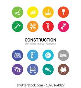 16 construction vector icons set included air compressor, angle grinder, barrier, beam, birck wall, blade saw, blowtorch, print, bolster, boning rod, wrench icons