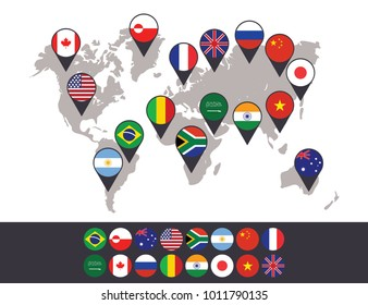 16 Country Flags Location for World Map Background Vector Icon