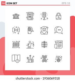 16 Creative Icons Modern Signs and Symbols of fitness; ecommerce; light; security; home Editable Vector Design Elements
