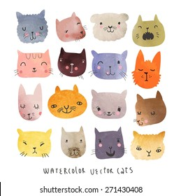 16 Cute watercolor cats in vector