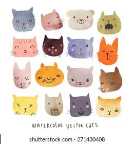 16 Cute watercolor cats in vector