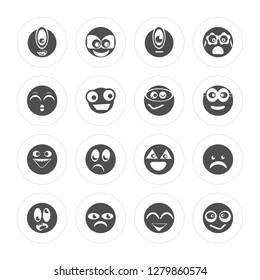 16 Cyclops, Nerd, Sad, Ugly, Shocked, Suspicious, Ti, Happy, Nerd modern icons on round shapes, vector illustration, eps10, trendy icon set.