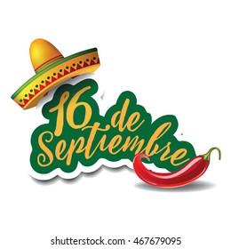 16 de Septiembre (16th of September) Mexican Independence Day icon. fieastas patrias. EPS 10 vector.