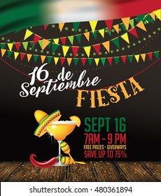 16 de Septiembre (September 16). Mexican Independence day festive bunting background. EPS 10 vector.