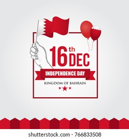 16 December Kingdom of Bahrain Independence Day flag in map Vector Illustration