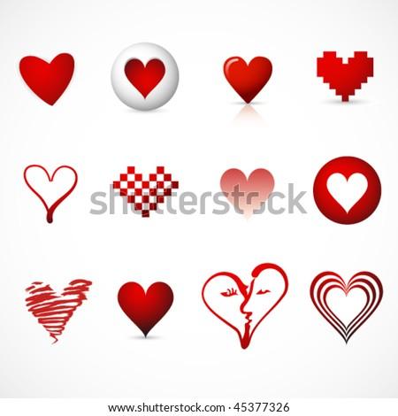 16 Different Heart Symbols Valentine Inspiration Stock Vector