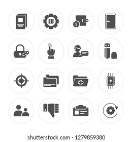 16 Document, EU, Right to objection, Child consent, Chip, Data processing, Keylock, Target, Profiling modern icons on round shapes, vector illustration, eps10, trendy icon set.