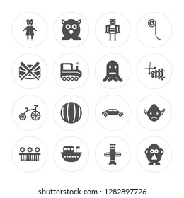 16 Doll toy, Furby Boat Piano Troll Mr potato Drum Tricycle Octopus toy modern icons on round shapes, vector illustration, eps10, trendy icon set.