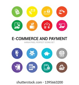 16 e-commerce and payment vector icons set included merchandise, mobile money, mobile payment, mobile shopping, money transfer, moneybox, new, online order, online payment, online shopping, pay