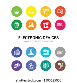 16 electronic devices vector icons set included earphones, electric blanket, electric fan, electric pencil sharpener, electronic, espresso maker, exhaust hood, fax, fax machine, food processor,