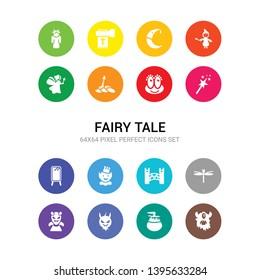 16 fairy tale vector icons set included cyclops, damsel, devil, dracula, dragonfly, drawbridge, dwarf, elf, enchanted mirror, enchantment, excalibur icons