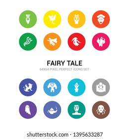 16 fairy tale vector icons set included female medusa, frankenstein, genie, ghost, giant, goblin, golem, griffin, gryphon, harpy, hero icons