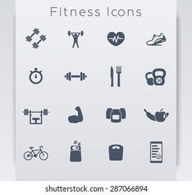 16 fitness, gym, sport, workout, healthy living flat blue icons, eps10, easy to edit
