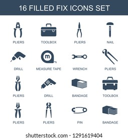 16 fix icons. Trendy fix icons white background. Included filled icons such as pliers, toolbox, nail, drill, measure tape, wrench, bandage, pin. fix icon for web and mobile.