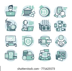 16 flat line vector icons for Blockchain website. Bitcoin mining, blockchain developement, finiance systems, echange, ICO website, network, graphic card mining, blockchain technology, cryptocurrency