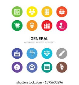 16 general vector icons set included mri scanner, news feed, on coaching, open source, organism, outsourcing, painting work, password phishing, patience, performance, placement icons