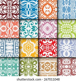 16 Geometric colorful seamless patterns set. Vector repeating texture, line art. Abstract background.
