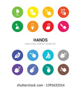 16 hands vector icons set included flick down gesture, flick left gesture, flick right gesture, to left up hand and a bottle, hand and chalk, hand and cit card, knife, money, phone icons