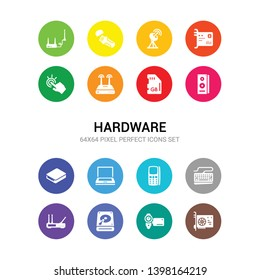16 hardware vector icons set included gpu, handy cam, harddrive, hardware hotspot, keyboard wire, keypad phone, laptop screen, local disk, loudspeakers, memory, modem with two antenna icons