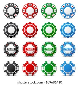 16 highly detailed gambling chips over white background