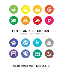 16 hotel and restaurant vector icons set included lounge, luggage, meat, minibar, napkins, nightstand, no pets, no smoking, olives, onigiri, open icons