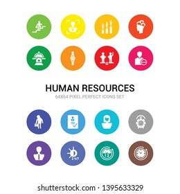 16 human resources vector icons set included 12 hours, 24 hours, 24/7, administrator, alarm, appearance, appointment, approved, attrition, balance in human resources, watch icons