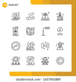 16 Icon Set. Line Style Icon Pack. Outline Symbols isolated on White Backgound for Responsive Website Designing. - Shutterstock ID 1657041889