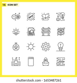 16 Icon Set. Simple Line Symbols. Outline Sign on White Background for Website Design Mobile Applications and Print Media.