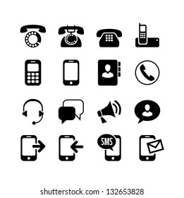 16 icons set - communication, call, phone