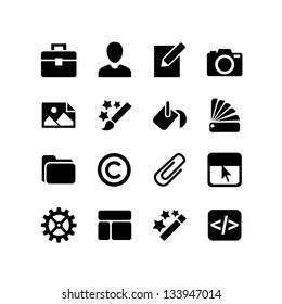 16 icons set. Web design - paint, customize, color