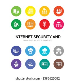 16 internet security and vector icons set included access denied, antivirus, authentication, bot, cloud, cloud server, cloud storage, computer security, computing wlan, connection error icons