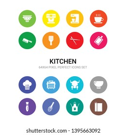 16 kitchen vector icons set included aluminum foil, apron, beater, bottle opener, bowl, broiler, bun warmer, chef hat, chopping board, chopsticks, zester icons
