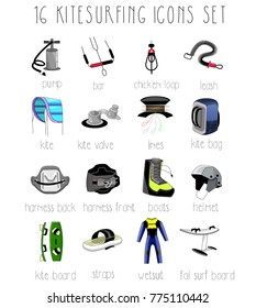 16 Kitesurfing icons set.Color, flat design, line art, logo, elements, symbols, accessory, equipment, hand drawn.Water sports school, website, banner, logo, isolated objects.Kitesurfing, kiteboarding