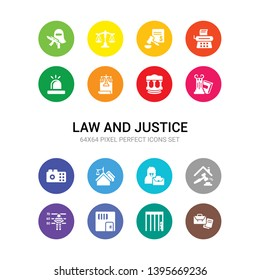16 law and justice vector icons set included practise areas, prisioner, prison, prisoner, property and finance, qualified protection, real estate law, recorder, roman law, roman scroll with icons