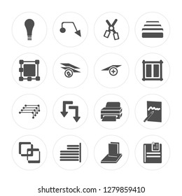16 Layer, Leader, Right align, Join, Edit, Insert, Ungroup, , Layer modern icons on round shapes, vector illustration, eps10, trendy icon set.