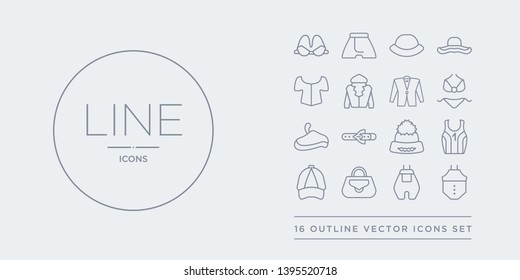 16 line vector icons set such as baby clothes, baby grow, bag, baseball cap, basketball jersey contains beanie, belt, beret, bikini. baby clothes, grow, bag from clothes outline icons. thin, stroke