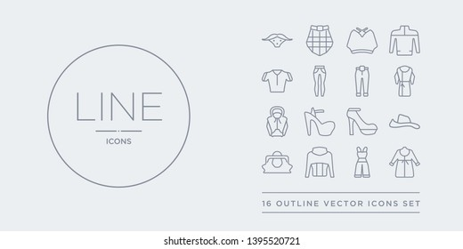 16 line vector icons set such as dressing gown, dungarees, fleece, hand bag, hat contains heels, high heel, hoodie, housecoat. dressing gown, dungarees, fleece from clothes outline icons. thin,