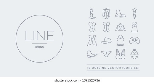 16 line vector icons set such as bra & knicker, brassiere, briefs, brisk boots, butterfly tie contains camisole, cap, cardigan, chemise. bra & knicker, brassiere, briefs from clothes outline icons.