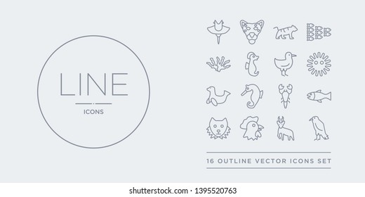 16 line vector icons set such as raven, roe, rooster, sable, salmon contains scorpion, sea horse, sea lion, sea urchin. raven, roe, rooster from animals outline icons. thin, stroke elements