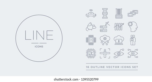 16 line vector icons set such as bionic contact lens, bionic eye, body scan, chip, cloning contains cloud computing, cloud intelligence, cpu, cyborg. bionic contact lens, eye, body scan from